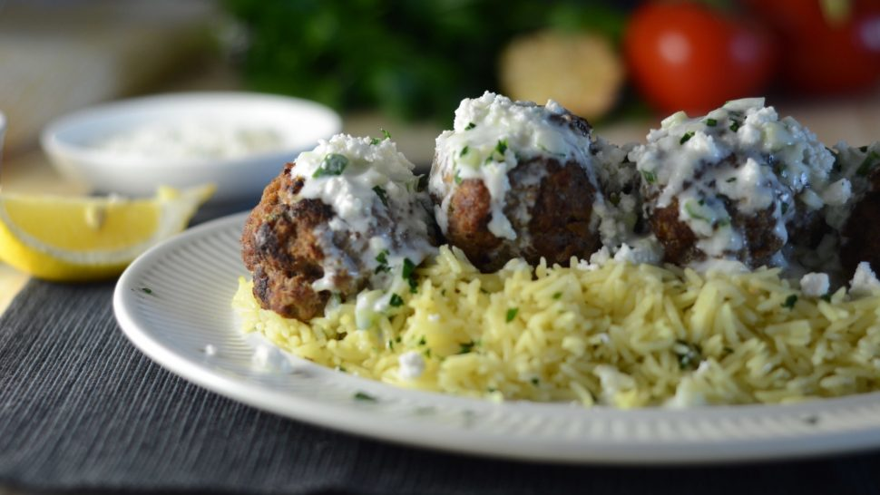meatballs and tzatziki with lemon rice pilaf, greek inspired